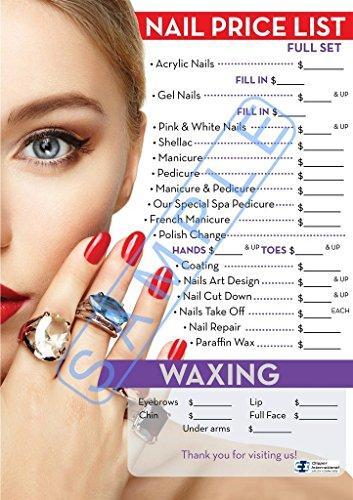 Nail Salon Price List - Nail Salon Poster- Beautiful Poster For Nail Salon, Dimension 27 x 19 Inches Laminated