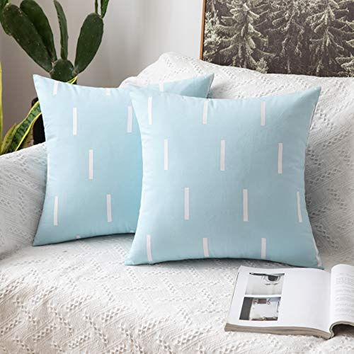 MIULEE Set of Two Cushion Cover Throw Pillowcase Short strips Lines Square Decrative Protecter Home for Sofa Bedroom Living Room 18 x 18 Inch 45 x 45cm Blue