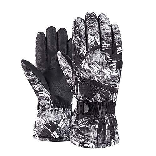BIFY Guantes de esquí con logo bordado, impermeables y cortavientos, diseño de pantalla táctil, para montar y correr gris, blanco grande