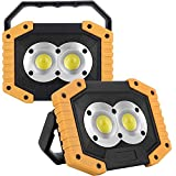 2-Pack Rechargeable Work Light COB 20W 1000LM, Waterproof LED Portable Flood Light for Outdoor Indoor Camping Hiking Emergency Car Repairing Fishing BBQ (Battery Included)