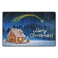 メリークリスマスジンジャーブレッドハウス玄関マット寝室キッチンバスルーム装飾軽量フォームラグ-152X100CM