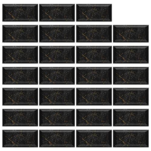 27 piezas de azulejos de mármol impermeables pegatinas DIY cocina suelo pared pared baño decoración 20 x 10 cm papel pintado adhesivo y adhesivo papel pintado para baño baño baño baño baño baño