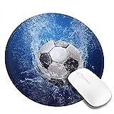 Fußball Wasser gedruckt bedruckte runde niedliche Mauspad, Mousepad für Desktop-Computer Laptop Notebook-PC, angepasste Mausmatte für das Arbeiten Gaming, Mini lustige einzigartige Mauspad für zu Haus