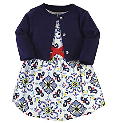 Touched by Nature Baby Girls' Organic Cotton Dress and Cardigan, Pottery Tile, 4-Toddler