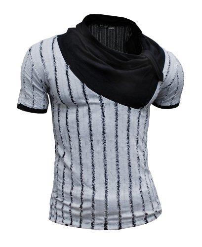 D&R Fashion Original T-Shirt Shawl Neck Vertical Stripes Grey Black