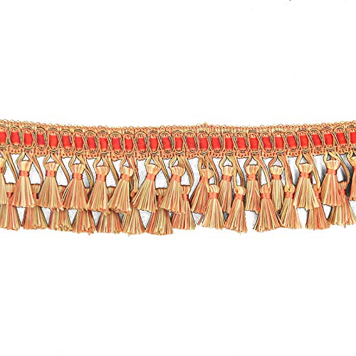 Fenghuangwu 6.5 Yard Handmade Tassel Fringe Trim 2.9 Inch Diameter Hand Knitting Tassel Fringing Trimmings for DIY Decor Curtain Tablecloth Home Decoration (Orange)
