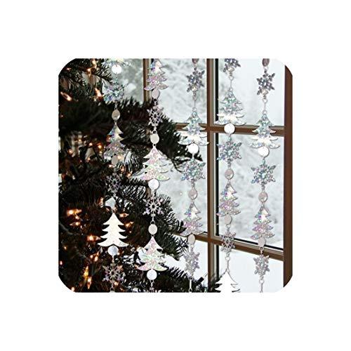 Pack van 1 st Gelukkig Jaar Kerst Decoraties 1.8M Glitter Zilver Sneeuwvlok Hangende slingers Festival Home Decoraties