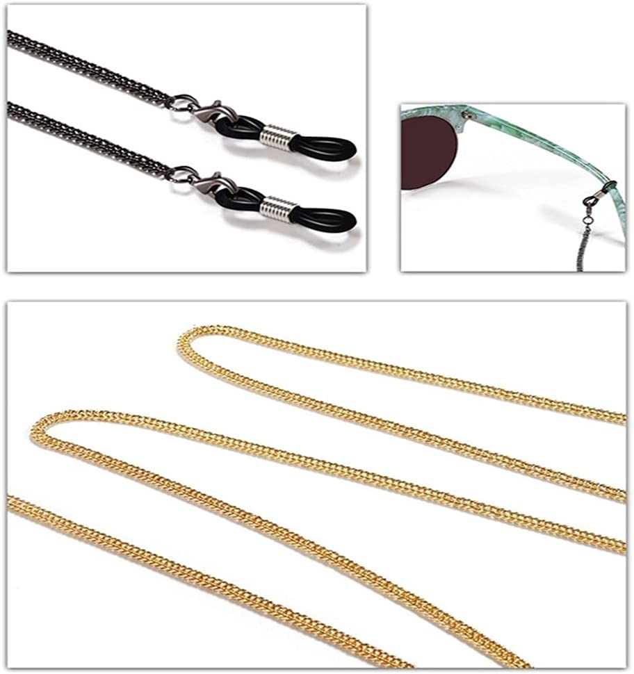 WJCCY Double Bone Flat Chain Cords Reading Glasses Chain Women Sunglasses Accessories Ethnic Style Lanyard Hold Straps (Color : A, Size : Length-70CM)