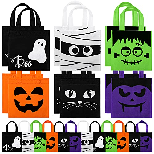 Whaline 30 Pack Halloween Non-Woven Bags Reusable Trick or Treat Tote Gift Bag Pumpkin Ghost Bat Mummy Monster Cat Party Favor Bag Candy Goodie Bag with Handle for Kids Teens Halloween Birthday