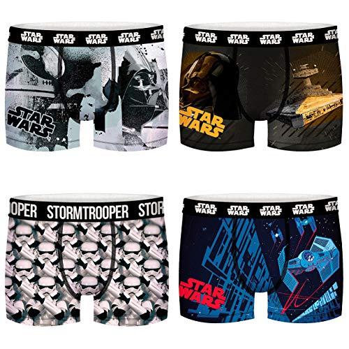 FREEGUN Star Wars Herren Boxershorts Darth Vader Stormtrooper Krieg der Sterne Druck 4er Pack S M L XL XXL, Größe:L, Farbe:Motivmix 2