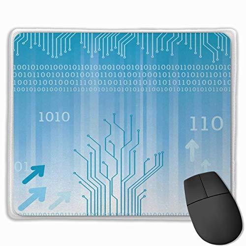Muiskussen, bureaumuismat, programmeur elektronisch binair hardwarecircuit moederbord computerchip ImagePale blauw en wit