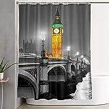 VINISATH Cortinas de Ducha,El Big Ben, la Casa del Parlamento y el Puente de Westminster en la Noche, Londres, Reino Unido.,Cortina de baño Decorativa para baño,bañera 180 x 180 cm