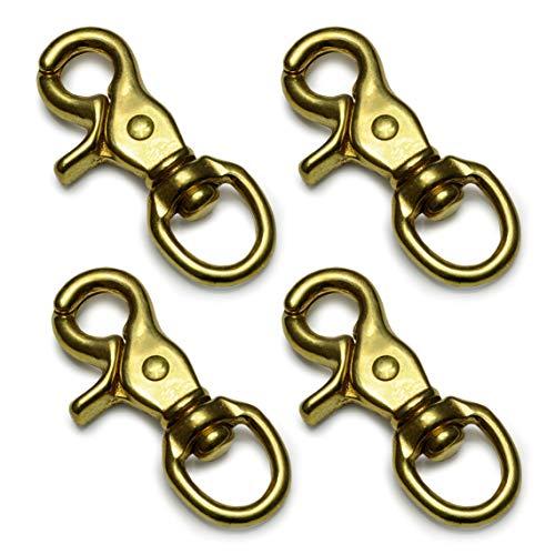 Ganzoo Scheren-Karabiner Haken mit Dreh-Gelenk/Dreh-Kopf für Hunde-Leine/Hals-Band im 4er-Set, legierter Stahl, 73mm Länge, auch für Paracord 550 / Schlüssel-Anhänger, Farbe: vermessingt (Gold-Optik)
