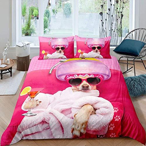 JCCYFRGE Animal Gafas Chihuahua Perro Rosa Albornoz SPA Patrón Bedding Juego De Funda De Edredón 180X220 Cm Microfibra Funda De Nórdico Y Fundas De Almohada - Antialérgico Cuidado Fácil Cómodo Suave