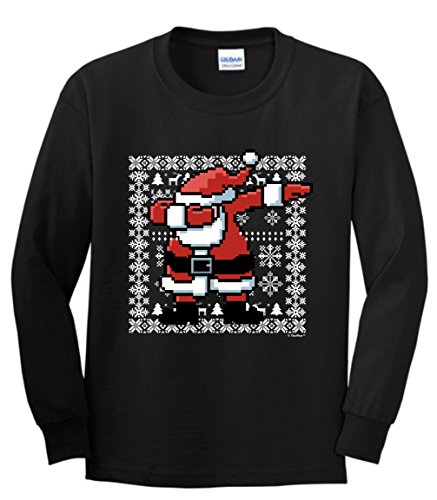 Funny Christmas Shirts Dabbing Santa Claus Ugly Christmas Sweater Themed Youth Long Sleeve T-Shirt XL Black