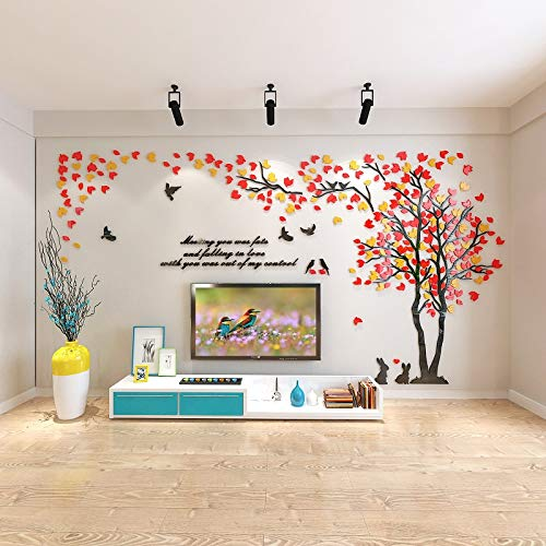 KINBEDY 3D Acrylic Black Tree Wall Stickers Photo Frames Family Tree Wall Decal Easy to Install &Apply DIY Photo Gallery Frame Decor Sticker Home Art Decor (Orange red-Right, Large)