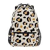 Mochila escolar casual com estampa de animal preto mostarda leve bolsa de ombro para viagem, faculdade, para mulheres e adolescentes