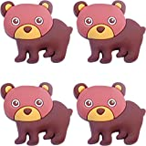 Four (4) of Bear Rubber Charms for Wristbands and Shoes
