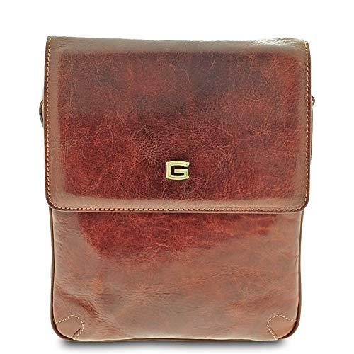 GIUDI ® Herren Tasche aus Rindsleder, echtes Leder, Made in Italy, Umhängetasche für Herren, braun (Braun) - 4640/GD