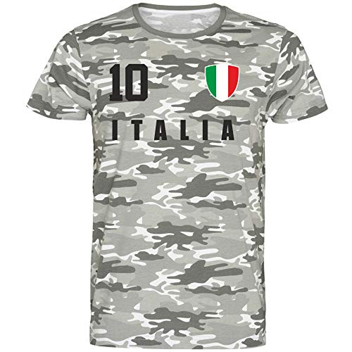 Nation Italien T-Shirt Camouflage Trikot Style Nummer 10 Army (XL)