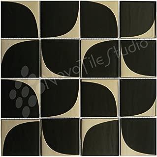 Box 10 Tiles Retro Black & Silver Glass Mosaic Tile 12