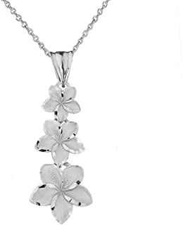 Elegant Sterling Silver Hawaiian Plumeria Flowers Charm Pendant Necklace