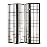 white 4 panel room divider - SQUARE FURNITURE Panel Shoji Screen Room Divider 3-10 Panel (4 Panel, Black, White, Cherry, Natural)