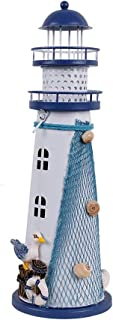 Waroom Home Wooden Lighthouse Decor, 11''H Nautical Themed Rooms Lighthouse Home Decor with Conch Star Fish & Small Fish (Lighthouse-C)