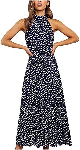 LYDIANZI Mujer Cóctel Vestido Vestido Floral Gráfico Maxi Vestido Halter Sin Mangas Vestido Largo Voltea con Cinturón(Size:Pequeña,Color:Azul)