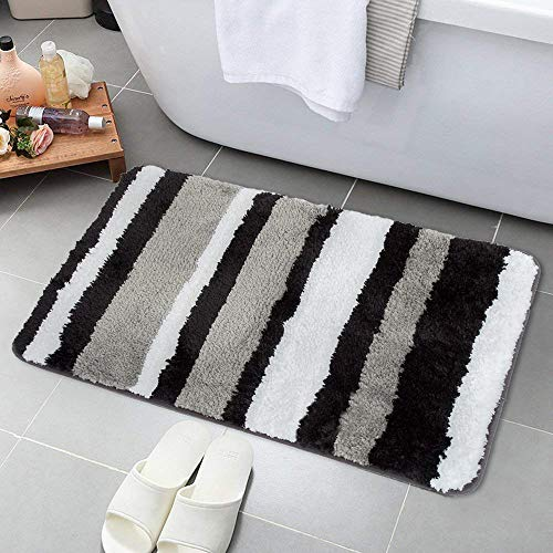 HEBE Bath Rugs for Bathroom Non-Slip Absorbent Bathroom Rug Machine Washable Bath Mat Kitchen Floor Rug (Black/Grey,18x26)