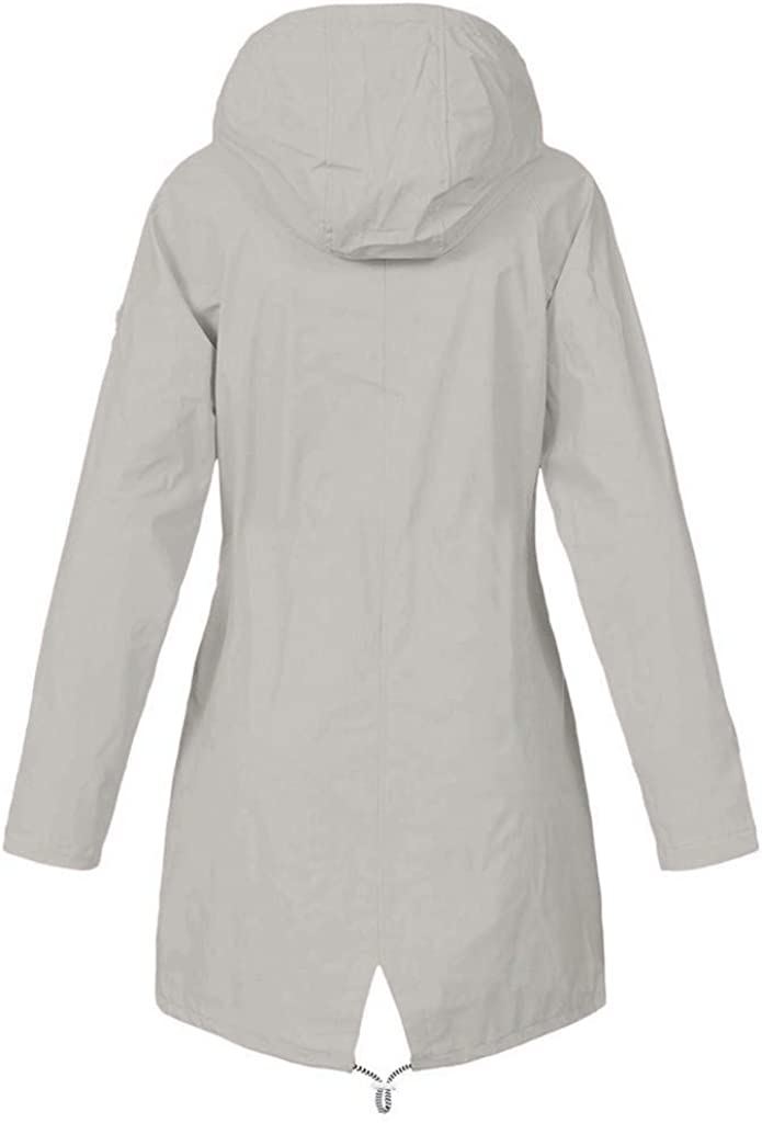Xmiral Wanderjacke Damen Wasserdicht Winddicht Regenmantel Outdoor Camping Jacke Streifen innen X Grau