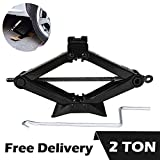 DICN Scissor Car Jack 2 Ton Steel with Chromed Handle for Roadside Tire Change Repair, Black 1 Pcs