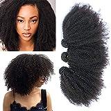 Afro Kinkys bouclés Remy trames de cheveux humains tissage 3 trames 4B 4 C Non transformés brésiliens vierges Extensions de...