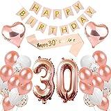 Peipong 30 - Decoración de cumpleaños para mujeres, globos de color oro rosa, decoración de fiesta de cumpleaños, carteles de Happy Birthday, 30 años, color oro rosa