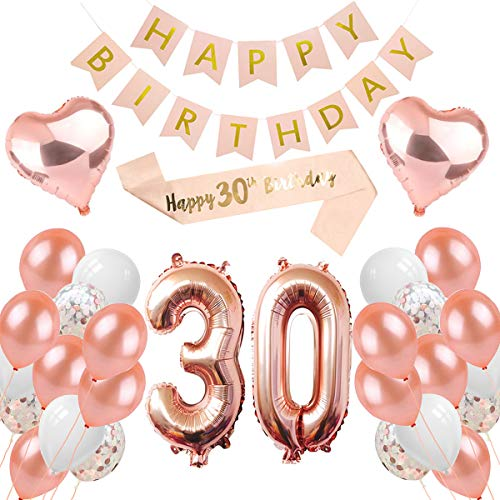 PEIPONG 30. Geburtstag Dekoration für Mädchen, Rose Gold Ballons Geburtstagsfeier Dekoration, Happy Birthday Banner, 30 Jahre Alte Rose Gold Geburtstags Dekoration