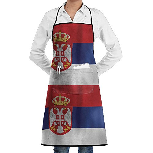Wave Serbian Flag Apron Lace Adult Mens Womens Chef Adjustable Polyester Long Full Black Cooking Kitchen Aprons Bib with Pockets for Restaurant Baking Crafting Gardening BBQ Grill