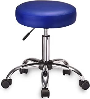 Amolife Multi-Purpose Hydraulic Adjustable Round Chair Drafting Rolling Swivel Stool with Wheels and Soft Padding for Home Office Beauty Barber Salon Medical Tattoo Vanity Massage Facial Spa in Blue