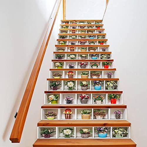 tzxdbh vinilos escaleras Plantas coloridas en macetas 100CMx18CMx6pieces(39.3'w x 7'h x 6pieces) Impermeable Etiqueta de la pared extraíble Pegatinas Adhesivos Autoadhesivos Dormitorio del Hogar