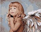 N/O Pintura por números para Adultos DIY Pintura al óleo Kit Alas de niña óleo Digital Niños decoración de la Pared del Arte de la Sala Vista 16X20 Pulgadas(con Marco)