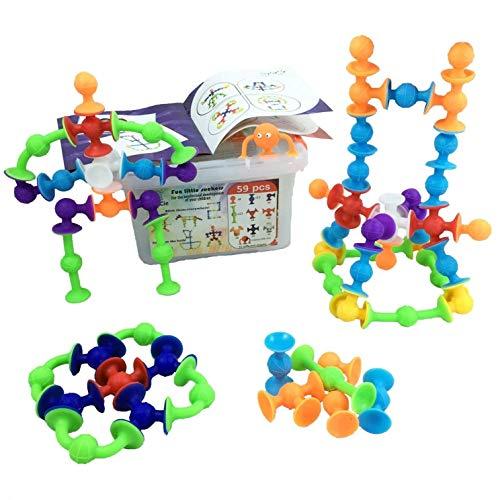 Kreatives und lehrreiches Bauspielzeug | 59 Stück: Saugnäpfe mit 10 verschiedenen Formen + Aufbewahrungsbox aus Kunststoff | Toll für das Bad. Saugnäpfe für Jungen und Mädchen ab 3 4 5 6 Jahren