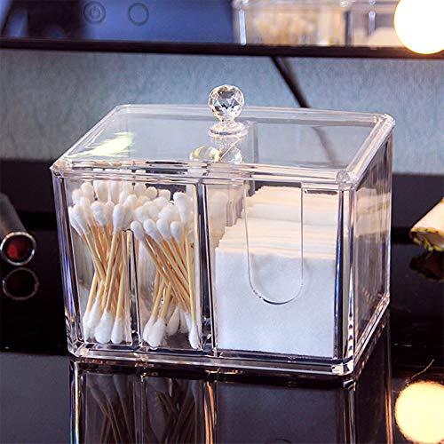 Organizador de cosméticos de algodón para maquillaje, soporte de almohadillas de baño, caja de almacenamiento de acrílico transparente con tapa, caja de almacenamiento de maquillaje