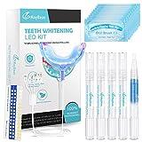 Zahnaufhellung Set Bleaching Zähne mit rot&blau 24X LED Licht und 4 Zahnaufhellung Stifte 1 Desensibilisator gegen Rauchflecken Zahnreinigung Teeth Whitening Kit für Zahnbleaching