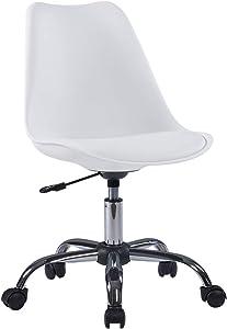 Duhome Sedia per Ufficio da scrivania in plastica Bianco Similpelle Ergonomica Sedia Girevole Regolabile in Altezza rétro Selezione Colore 518SF
