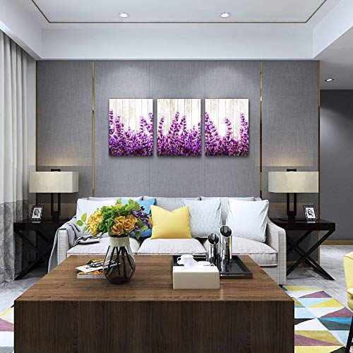 Vintage wood grain Background lavender Flowers Canvas Prints Wall Art for Living Room Bedroom Decoration wall painting , Purple Bathroom Wall Decor Home Decoration kitchen artwork