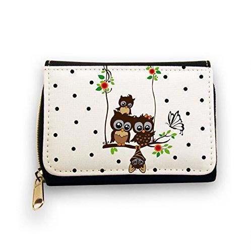 ilka parey wandtattoo-welt Portemonnaie Geldbörse Brieftasche Eulen auf Schaukel Eulenschaukel mit Schmetterling Blüten gk048