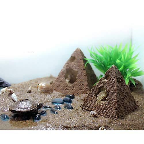 Uotyle アクアリウム ピラミッド 水槽 オブジェ アクアリウム オーナメント 金魚・熱帯魚・爬虫類 隠れ家 遺跡 インテリア おしゃれ (M -9.5×9.5×9.5cm)