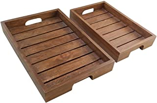 DECORVAIZ Rosewood Sheesham Wood Handmade & Handcrafted Wooden Large Size Serving Tray - Set of 2