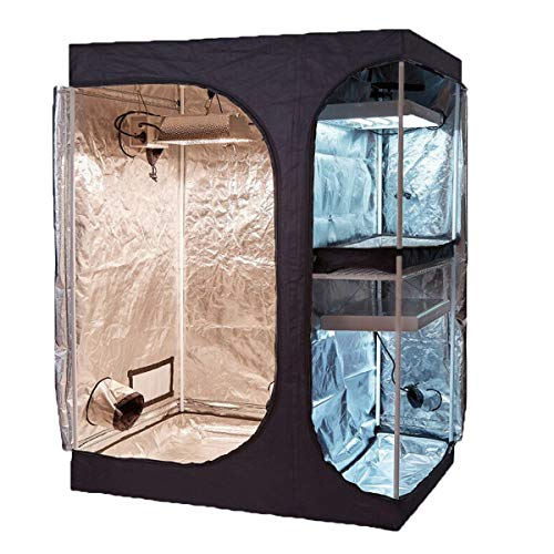 TopoGrow 2-in-1 Indoor Grow Tent 60'X48'X80' 600D High-Reflective W/2-Tiered for Lodge Propagation and Flower Plant Growing