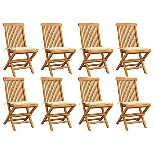 vidaXL 8X Teak Massiv Gartenstuhl mit Creme Kissen Klappbar Holzstuhl Stuhl Stühle Klappstuhl Gartenstühle Terrasse Balkon Gartenmöbel