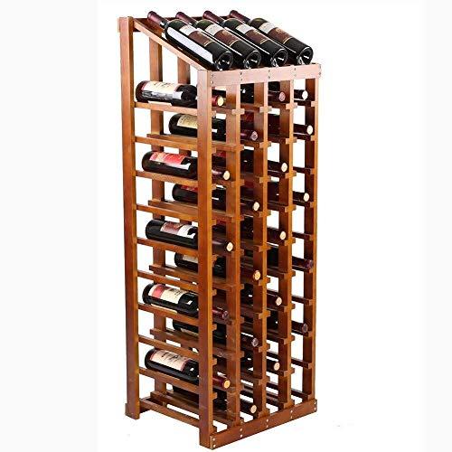 GLYYR Weinregal Freistehender Weinregal, stapelbarer Speicher-Display-Stand 48 Flaschen Kapazität ohne Schütteln für Hausküche (Farbe: Wein rot) (Color : Tea Color)